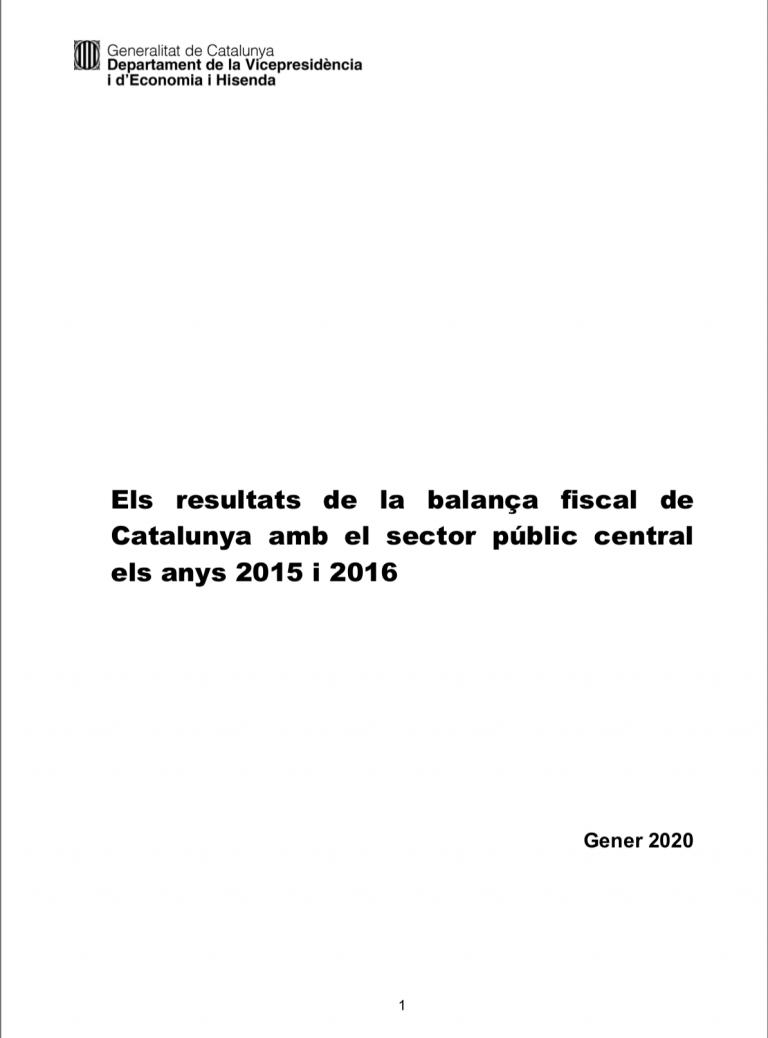 Els resultats de la balança fiscal de Catalunya amb el sector públic central els anys 2015 i 2016
